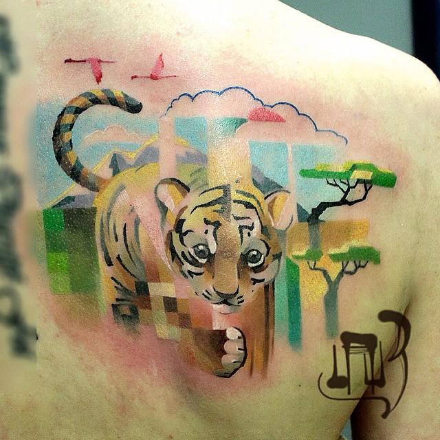 Pixel Glitch Tattoo Alexey Lesha Lauz Russia 12 Petit