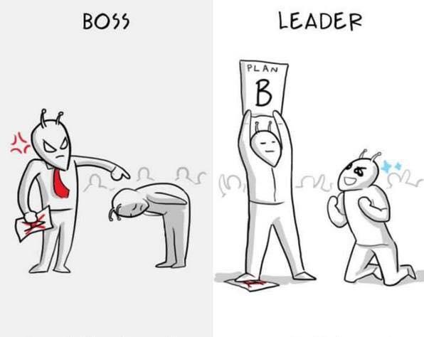 des illustrations qui te d montrent la diff rence entre tre un boss ou tre un leader petit. Black Bedroom Furniture Sets. Home Design Ideas