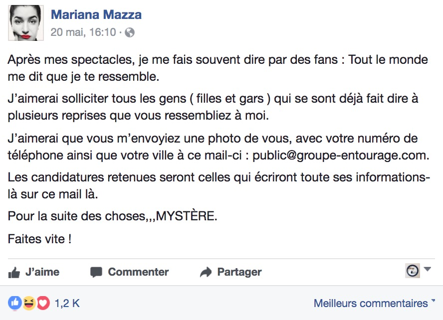 Mariana Mazza recherche des filles pour un projet secret