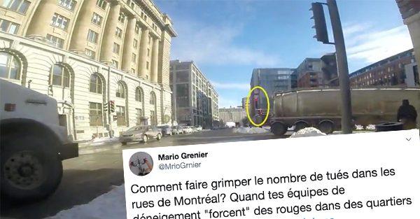 Un camion de déneigement qui se croit tout permis à Montréal