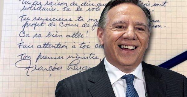 François Legault fait une belle surprise en répondant à une lettre d'un enfant