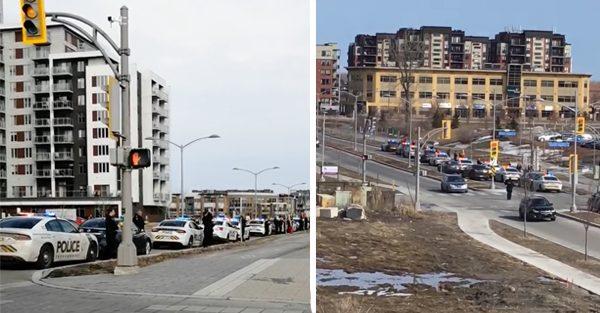 Des policiers de Terrebonne s'arrêtent devant l'Hôpital Pierre-Le Gardeur pour applaudir