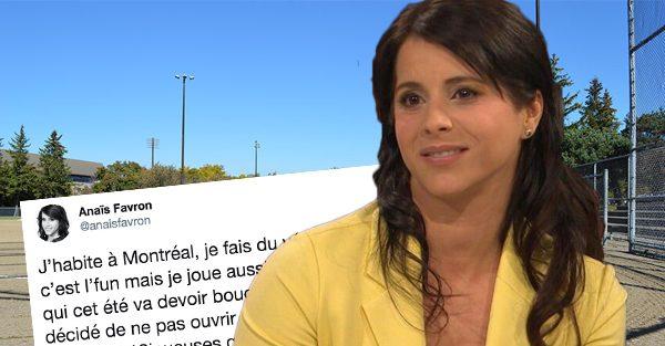 Anaïs Favron exprime son mécontentement par rapport à une décision de la ville de Montréal