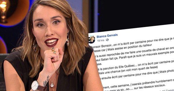 Bianca Gervais reçoit des centaines de messages désobligeants
