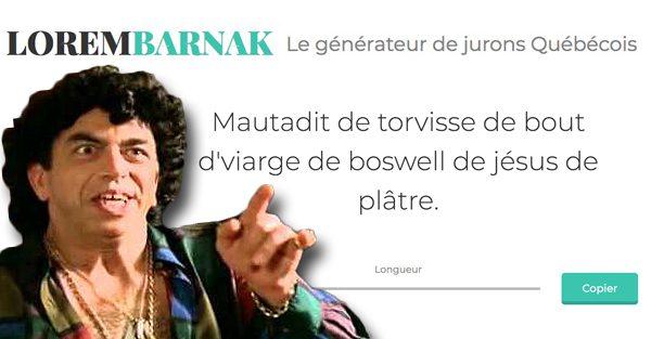 Le générateur d'insultes Lorembarnak va te donner des jurons québécois qui fessent