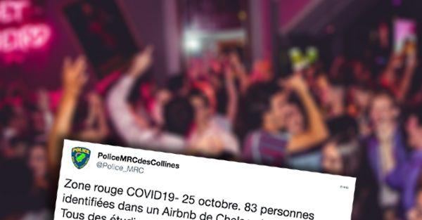 La police a donné pour 83 000$ d'amende pour un party réunissant 83 étudiants au Québec