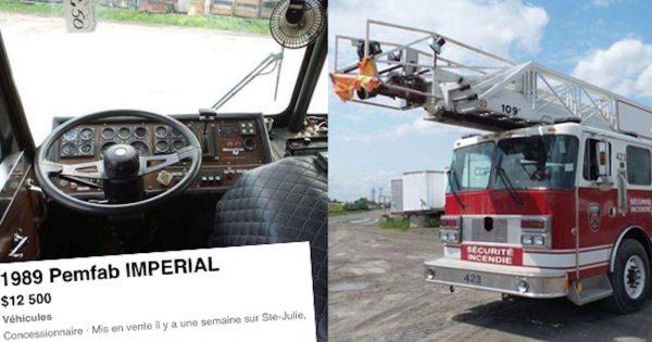 Un camion de pompiers est présentement à vendre à Sainte-Julie