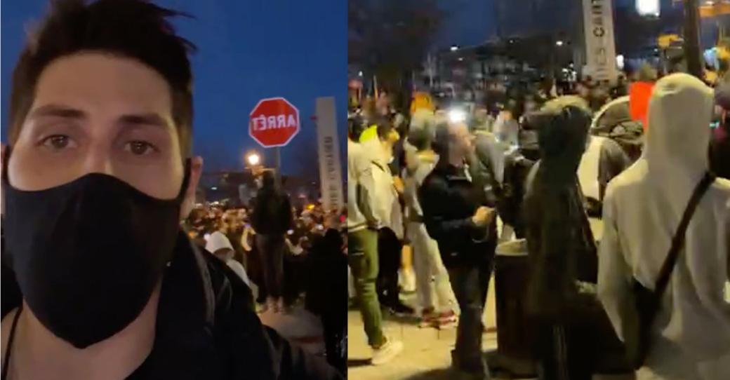 Immense manifestation dans le Vieux-Port de Montréal après le couvre-feu