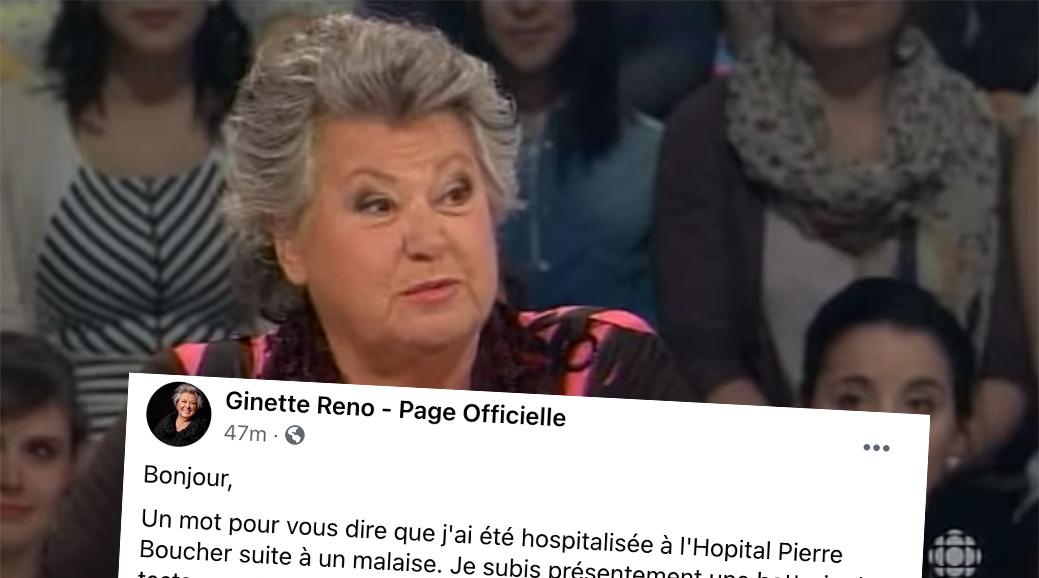 Ginette Reno est hospitalisée et elle donne des nouvelles sur son état de santé